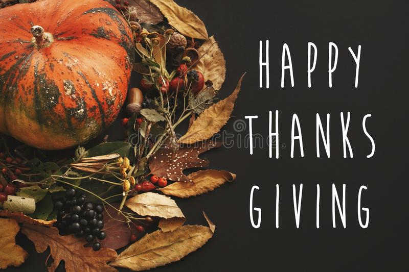 Happy Thanksgiving text on pumpkin in autumn leaves wreath, berries, nuts, acorns, flowers,herbs on dark background, isolated. Se stock photo