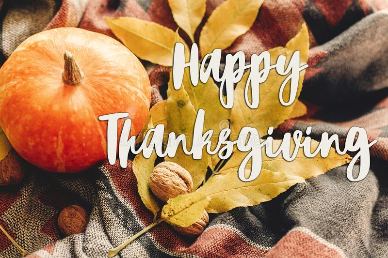 Happy thanksgiving text sign on autumn pumpkin with colorful lea royalty free stock images
