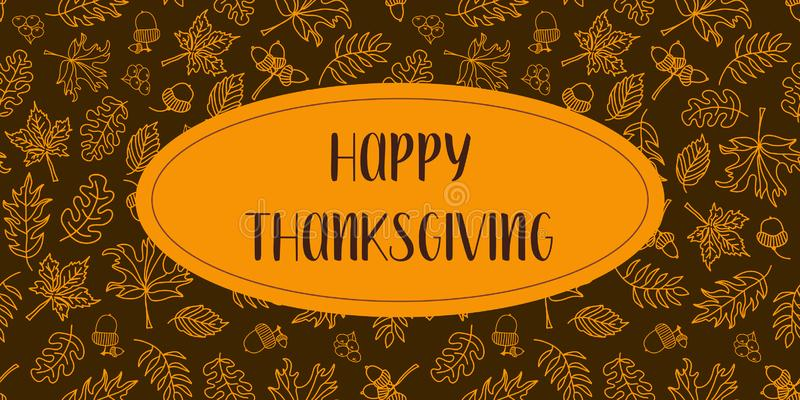 Happy Thanksgiving text vector with autumn leaves stock illustration