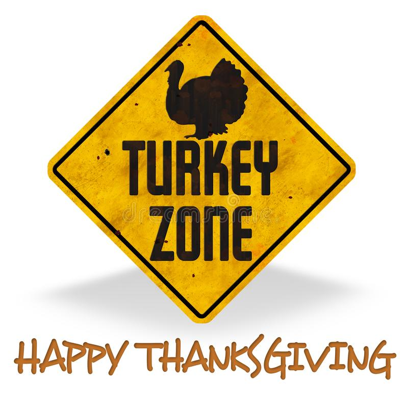 Happy Thanksgiving Turkey Zone Sign Grunge Fun royalty free illustration