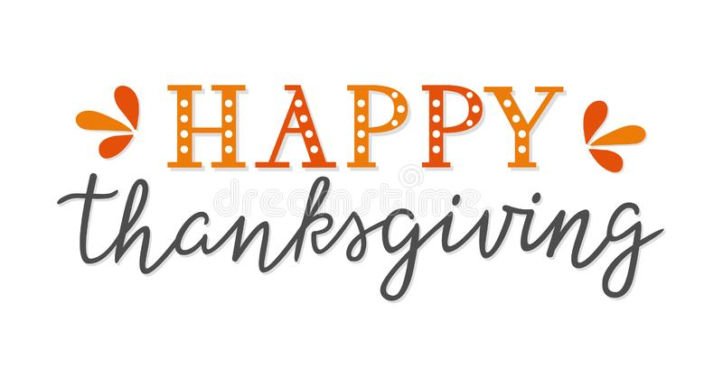 Happy Thanksgiving unique hand lettering isolated on white background. Hand drawn text for greeting card, poster, web vector illustration