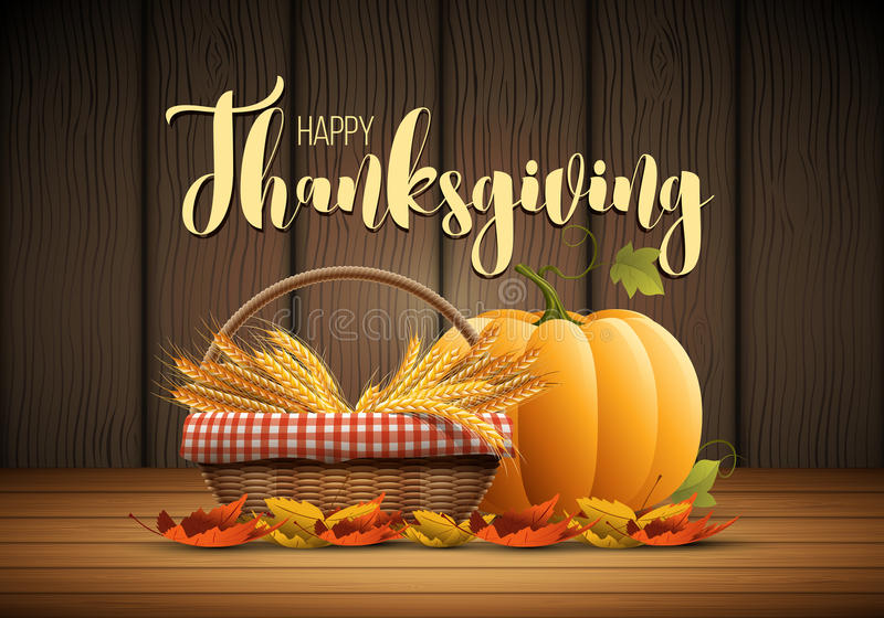 Happy Thanksgiving. Vector autumn Happy Thanksgiving poster design template. Elements are layered separately in vector file stock illustration