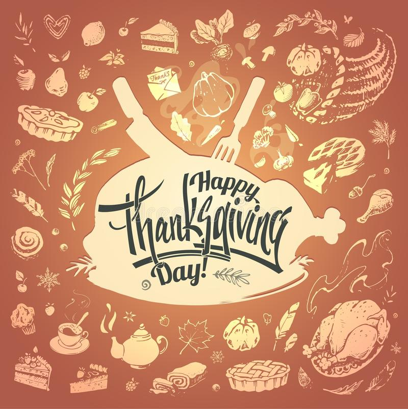 Happy Thanksgiving card with hand drawn food icons royalty free illustration