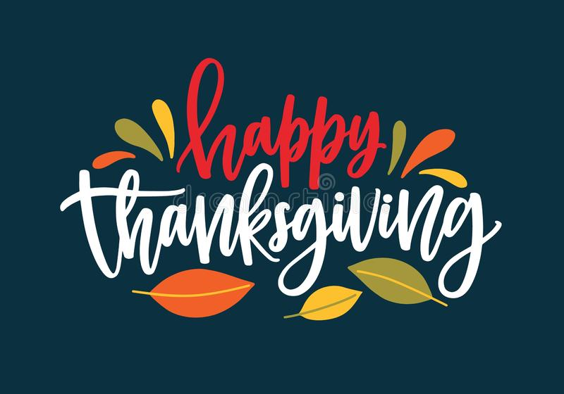 Happy Thanksgiving wish written with elegant calligraphic script and decorated by fallen autumn foliage. Colored. Seasonal vector illustration in flat style for stock illustration
