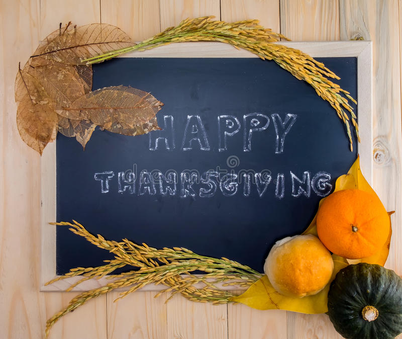 Happy Thanksgiving word cloud on a vintage slate blackboard. royalty free stock photos