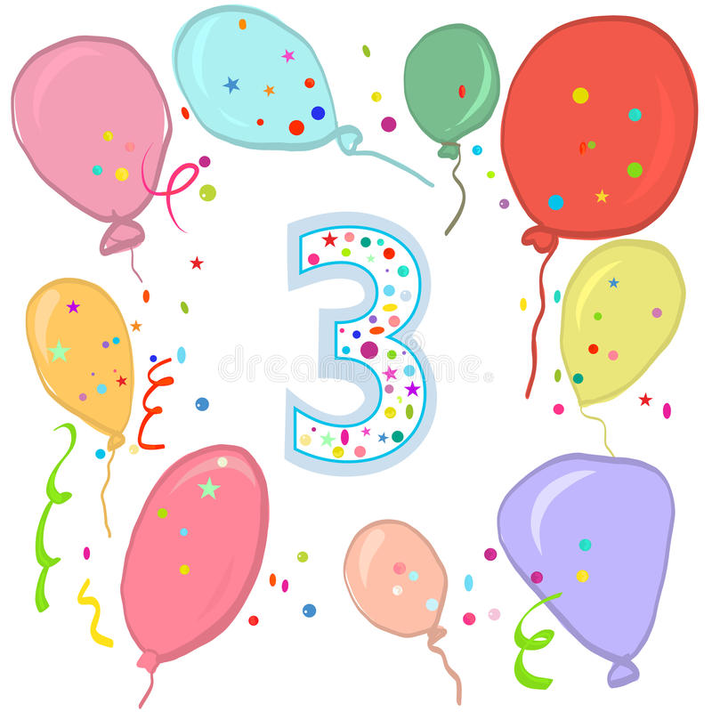 Happy third birthday. Colorful balloon greeting card. Background royalty free illustration