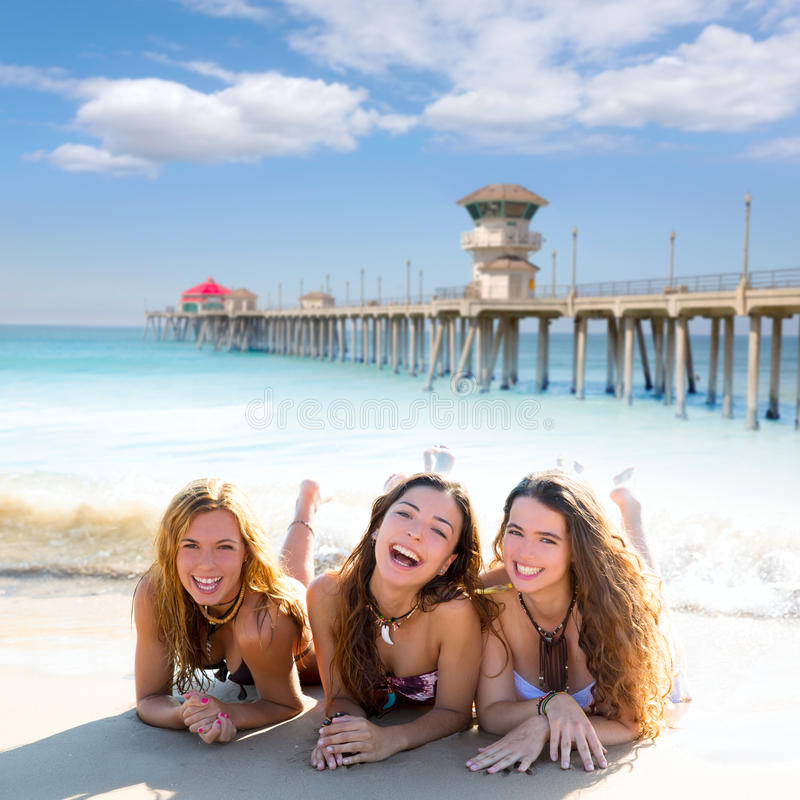 Download Happy Three Friends Girls Lying On Beach Sand Smil Stock Photo - Image of beach, foreshore: 33320872