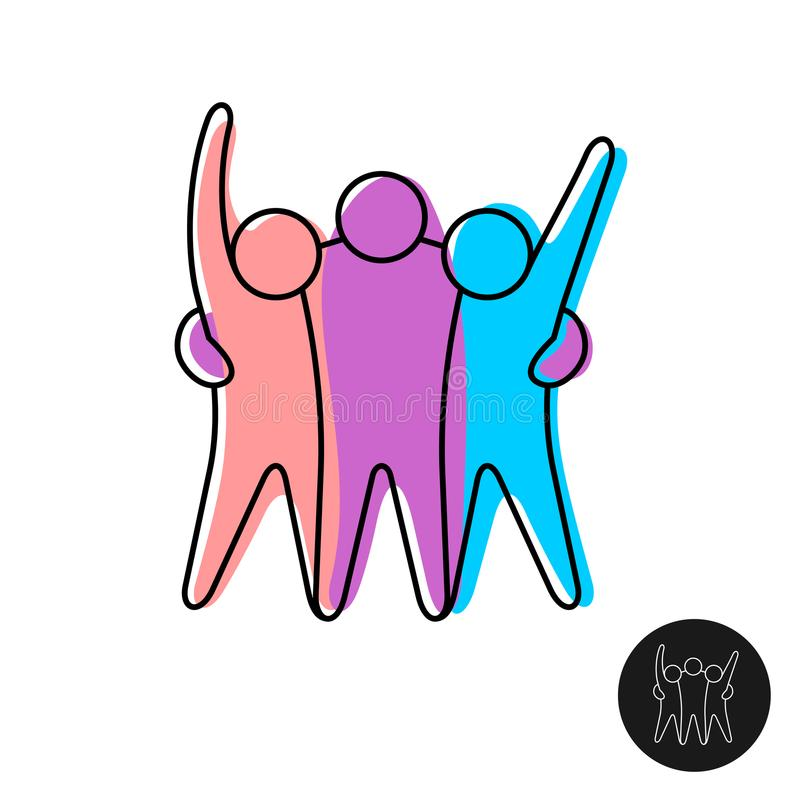 Happy three friends line style logo. Happy three friends logo. Joyful people embrace together line style sign royalty free illustration