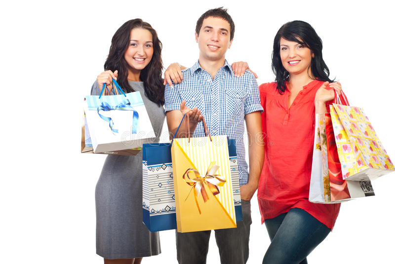 Happy three friends at shopping royalty free stock image