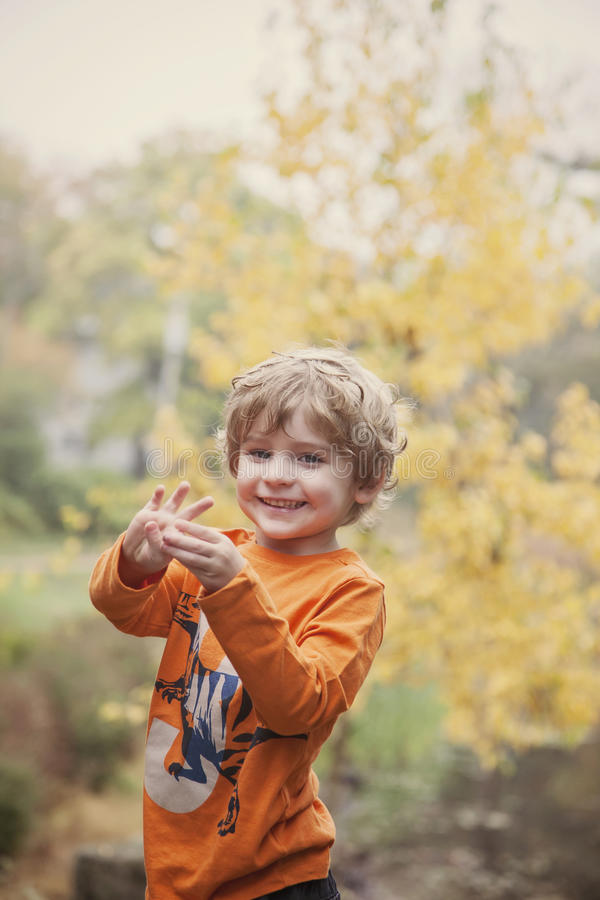 Happy three year old boy. Smiling 3 year old boy holding up three fingers royalty free stock photos