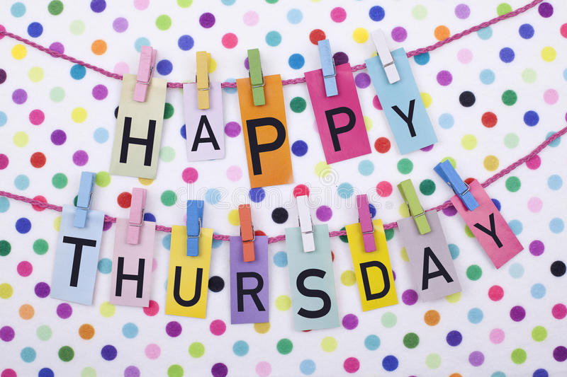 Happy Thursday. Day greeting colorful concept background stock image