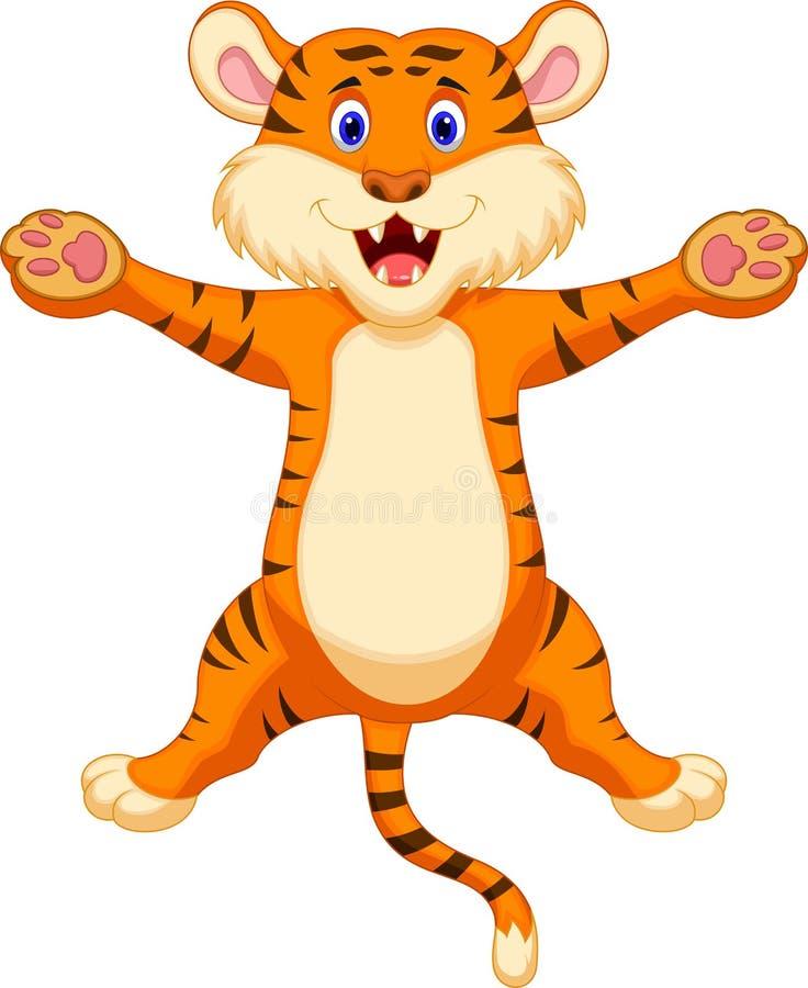 Happy tiger cartoon royalty free illustration