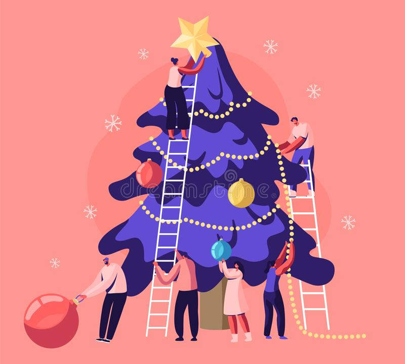 Happy Tiny People Decorate Huge Christmas Tree Together Prepare for Winter Holidays Celebration. Friends Hanging Balls royalty free illustration