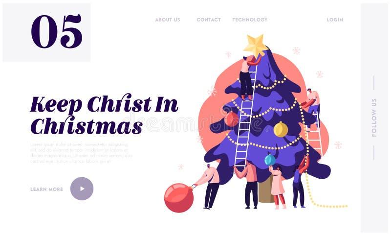 Happy Tiny People Decorate Huge kerstboom Website landingspagina Friends Hanging Balls en Star on Spruce vector illustratie