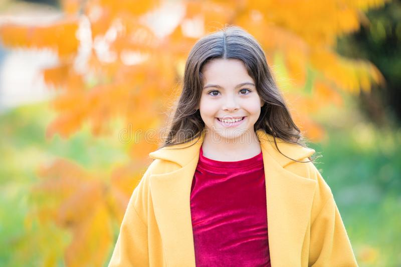Happy to be around. autumn nature. school season fashion. happy little child outdoor. girl with maple leaf. walking in stock photography