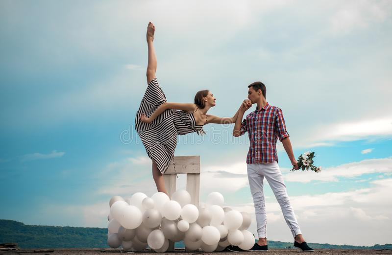 Happy to be in love. Ballet dancers falling in love. Ballet couple into love relations. Couple in love. Romantic stock image