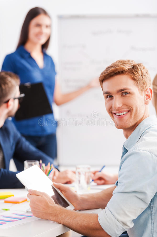 Happy to be a part of great team. stock photo