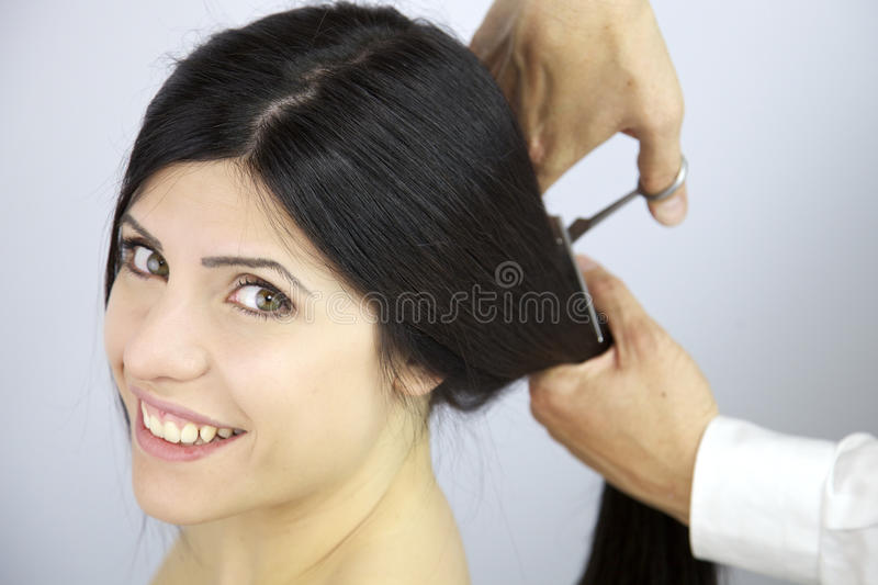 how to change hair style happy to change hairstyle cutting my hair stock photo 1239