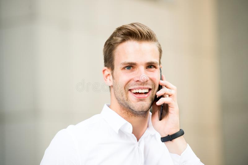 Happy to hear you. Spend few minutes before call to gather yourself. Successful phone conversations tips. Success in stock images