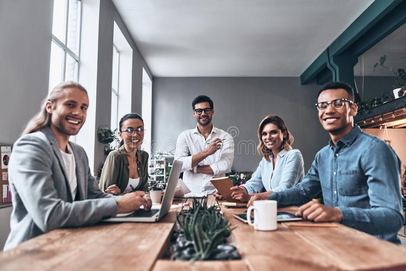 Happy to work together. stock images