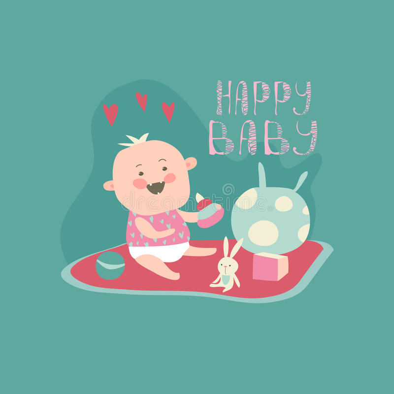 Happy toddler with baby toys. Vector illustration royalty free illustration
