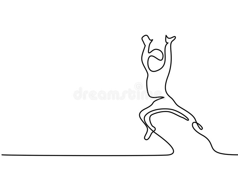 Happy toddler boy jumping on bed. Continuous line drawing. Happy toddler boy jumping on bed. Vector illustration vector illustration