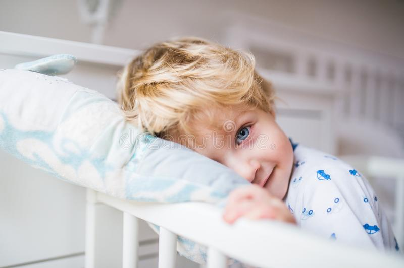 A toddler boy standing in a cot in the bedroom at home. A happy toddler boy standing in a cot in the bedroom at home. Close up stock images