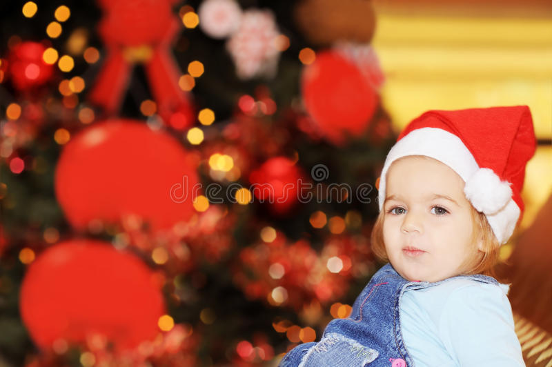 Download Happy Toddler Girl In Front Of Xmas Tree Stock Image - Image of caucasian, funny: 26884573