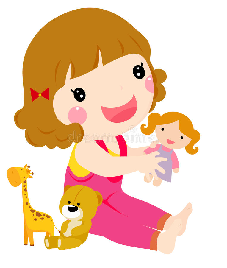 A Happy Toddler Girl Playing. Illustration of Happy Toddler Girl Playing vector illustration