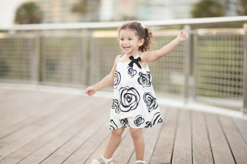 Happy toddler in the park royalty free stock photos