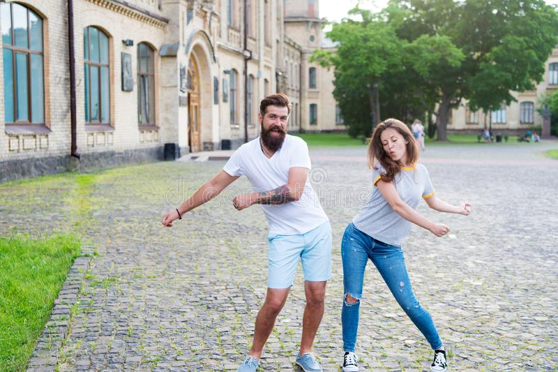 Happy together. Couple in love walking having fun. Couple relaxing enjoying each other. Man bearded hipster and pretty. Woman in love. Loving heart is truest royalty free stock photography