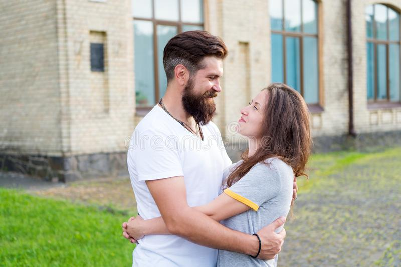 Happy together. Couple in love walking having fun. Man bearded hipster and pretty woman in love. Loving heart is truest royalty free stock photos