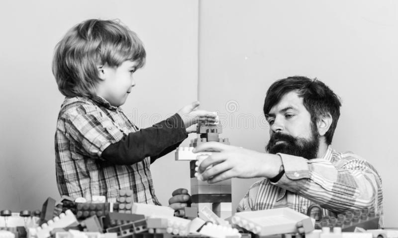 Always happy together. happy family leisure. father and son play game. child development. small boy with dad playing royalty free stock photos