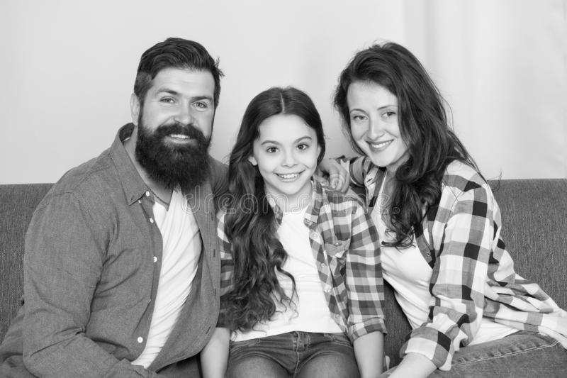 Always happy together. family weekend. mother and father love daughter. little girl with parents. trust and bonds. Bearded men and women with child. happy stock photography