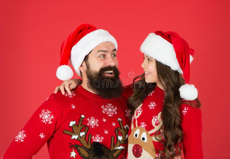 Happy together. Merry christmas. Dad and daughter winter sweaters celebrate new year. Winter holidays. Bearded man and. Happy together. Merry christmas. Dad and royalty free stock photography