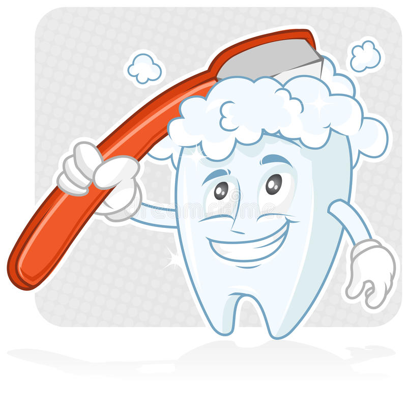 Happy tooth Brushing stock illustration