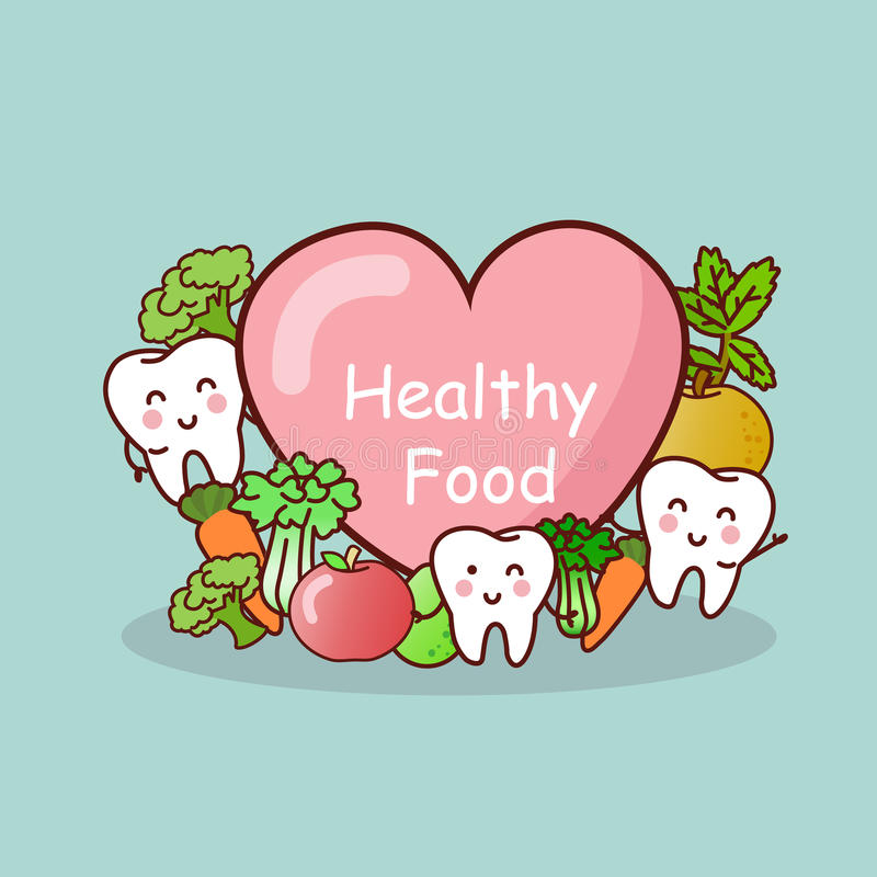 Happy tooth with healthy food stock illustration