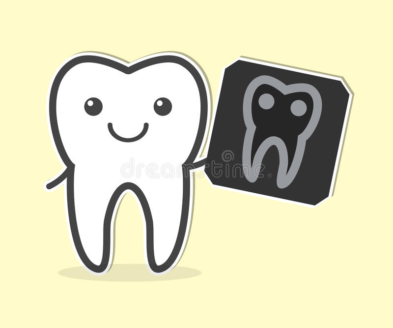 Happy tooth with X-ray film. Vector illustration stock illustration