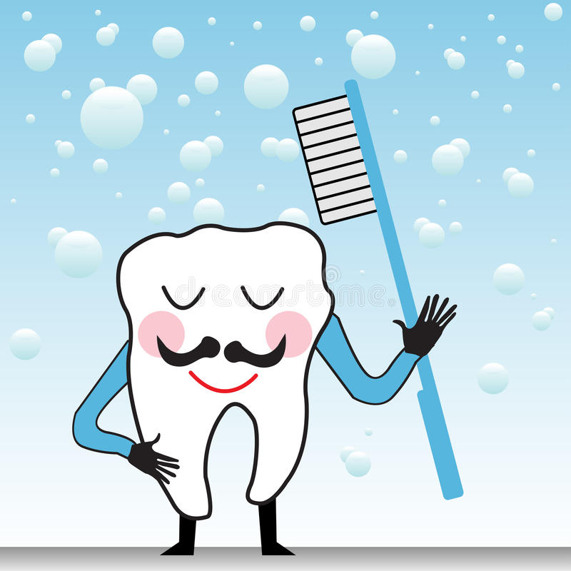 Happy tooth with toothbrush royalty free stock images