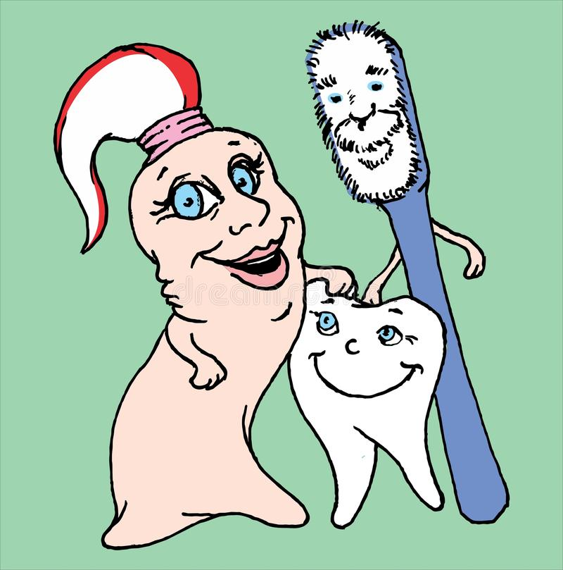 Happy tooth toothpaste and toothbrush family vector illustration