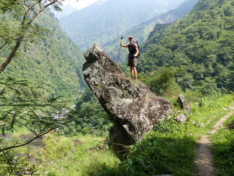 Happy tourist on Chipla way - Nepal trekking royalty free stock images