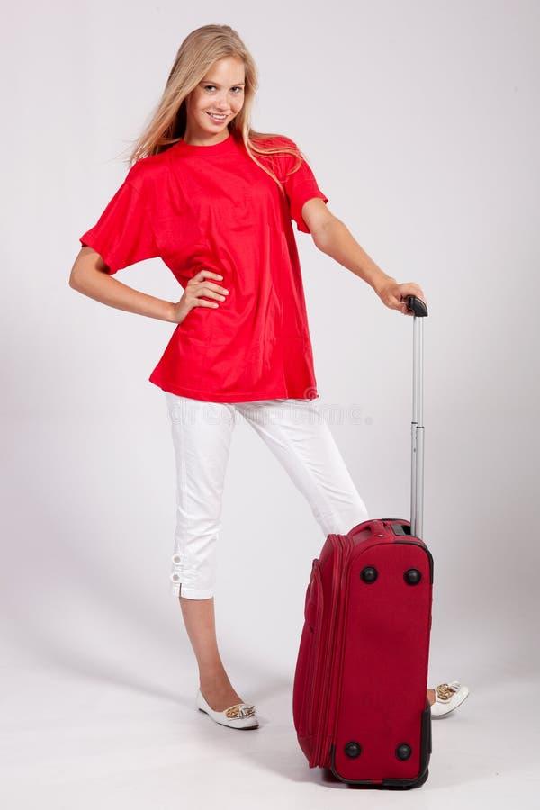 Happy tourist girl stock photo