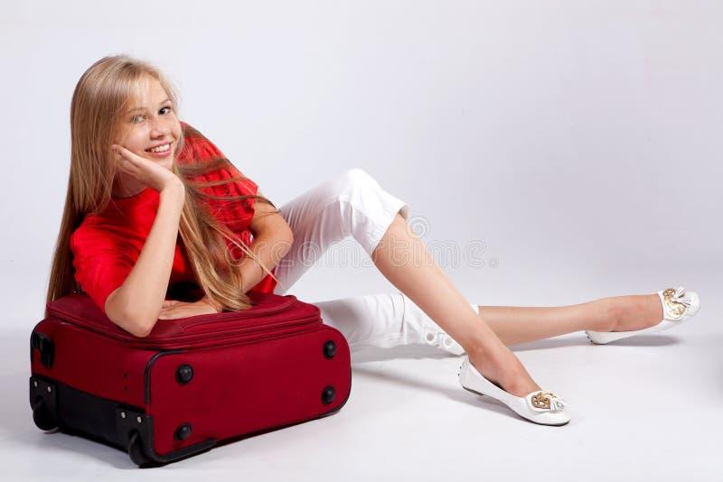 Happy tourist girl royalty free stock image