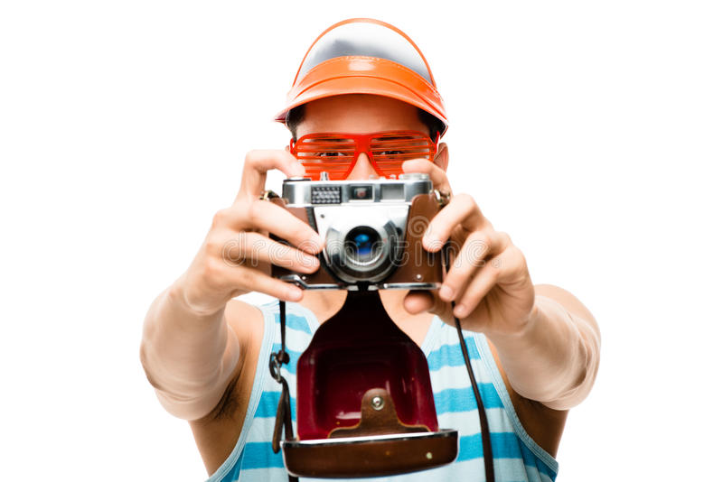 Download Happy Tourist Photographer Taking Photo Stock Photo - Image: 31853280