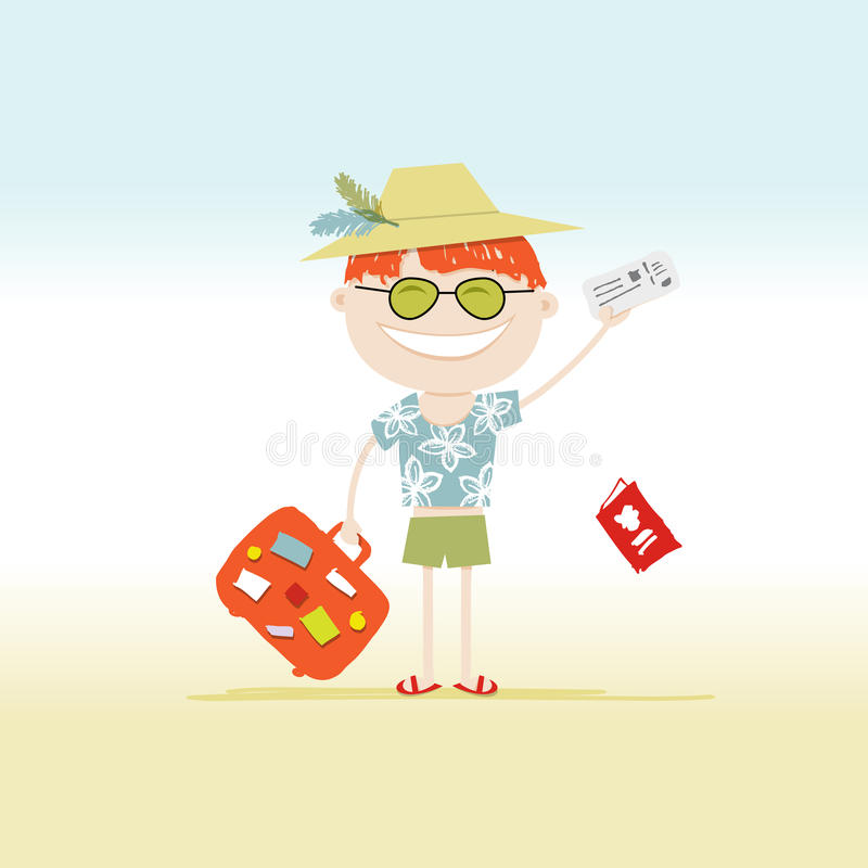 Happy Tourist With Tickets And Suitcase For Your Stock Photography