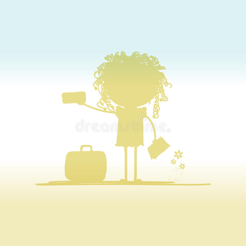 Happy Tourist With Tickets And Suitcase For Your Royalty Free Stock Photo