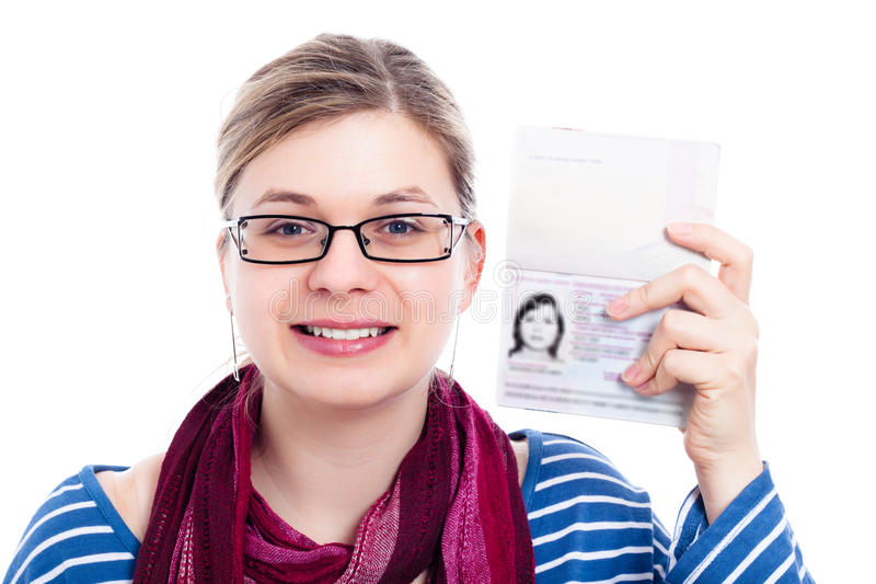 Happy tourist traveller woman with passport stock images