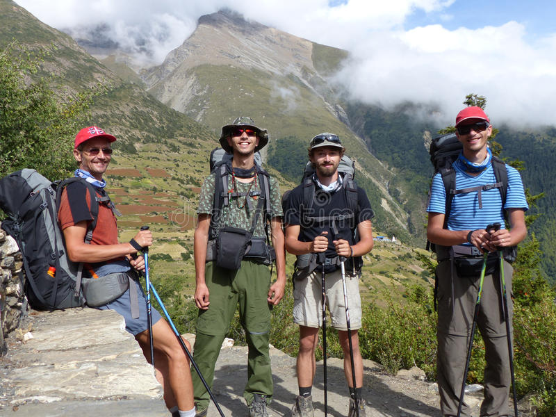 Happy tourists in Himalaya, view to Pisang peak stock images