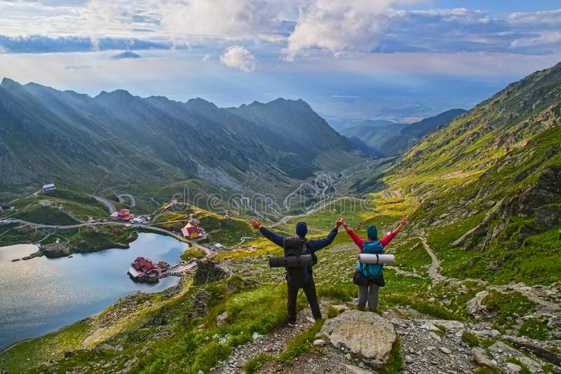 Happy tourists in Romanian mountains stock images