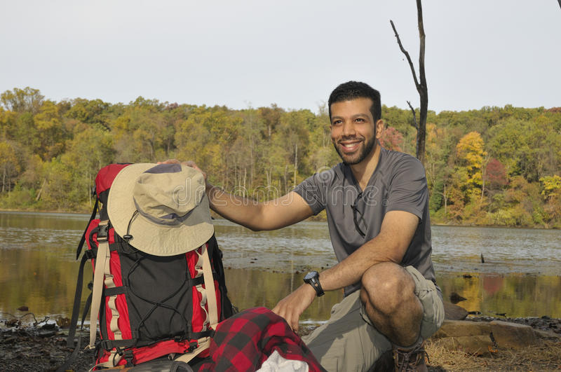 Happy Traveler with Backpacking Equipment royalty free stock photos